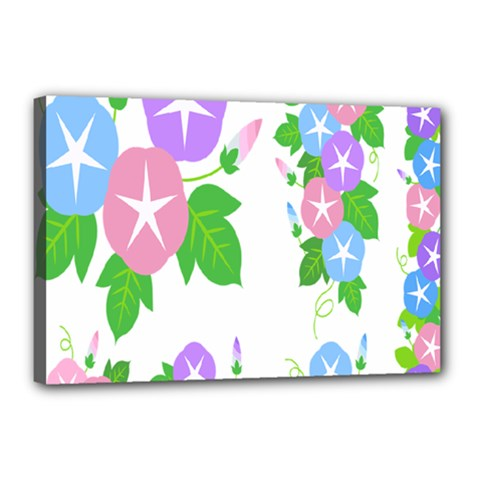 Flower Floral Star Purple Pink Blue Leaf Canvas 18  X 12  by Mariart