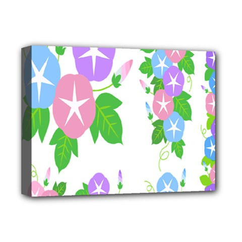 Flower Floral Star Purple Pink Blue Leaf Deluxe Canvas 16  X 12   by Mariart
