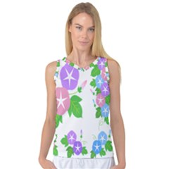 Flower Floral Star Purple Pink Blue Leaf Women s Basketball Tank Top by Mariart
