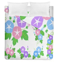 Flower Floral Star Purple Pink Blue Leaf Duvet Cover Double Side (queen Size) by Mariart
