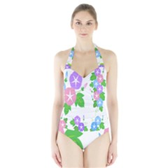 Flower Floral Star Purple Pink Blue Leaf Halter Swimsuit by Mariart