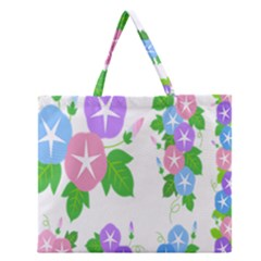 Flower Floral Star Purple Pink Blue Leaf Zipper Large Tote Bag by Mariart
