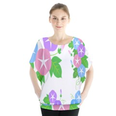 Flower Floral Star Purple Pink Blue Leaf Blouse by Mariart