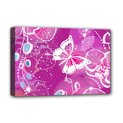 Flower Butterfly Pink Deluxe Canvas 18  X 12   by Mariart