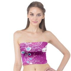 Flower Butterfly Pink Tube Top by Mariart