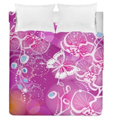 Flower Butterfly Pink Duvet Cover Double Side (queen Size) by Mariart