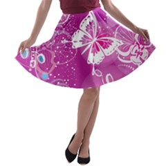 Flower Butterfly Pink A Line Skater Skirt by Mariart