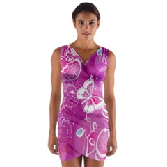 Flower Butterfly Pink Wrap Front Bodycon Dress