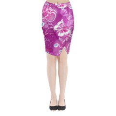Flower Butterfly Pink Midi Wrap Pencil Skirt by Mariart
