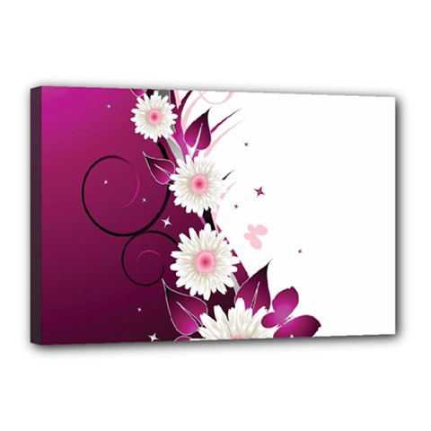 Flower Purple Sunflower Star Butterfly Canvas 18  X 12  by Mariart