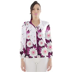 Flower Purple Sunflower Star Butterfly Wind Breaker (women) by Mariart