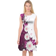 Flower Purple Sunflower Star Butterfly Capsleeve Midi Dress by Mariart