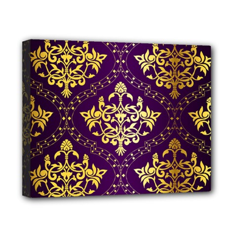 Flower Purplle Gold Canvas 10  X 8  by Mariart