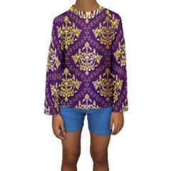 Flower Purplle Gold Kids  Long Sleeve Swimwear