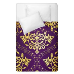 Flower Purplle Gold Duvet Cover Double Side (single Size) by Mariart