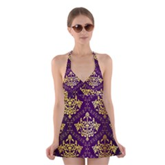 Flower Purplle Gold Halter Swimsuit Dress by Mariart