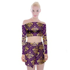 Flower Purplle Gold Off Shoulder Top With Skirt Set by Mariart