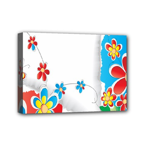 Flower Floral Papper Butterfly Star Sunflower Red Blue Green Leaf Mini Canvas 7  X 5  by Mariart