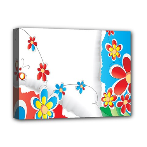 Flower Floral Papper Butterfly Star Sunflower Red Blue Green Leaf Deluxe Canvas 16  X 12