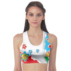 Flower Floral Papper Butterfly Star Sunflower Red Blue Green Leaf Sports Bra by Mariart