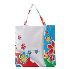Flower Floral Papper Butterfly Star Sunflower Red Blue Green Leaf Grocery Tote Bag by Mariart