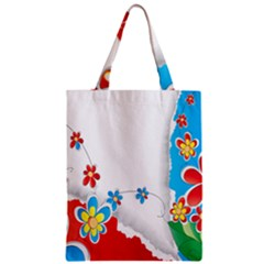 Flower Floral Papper Butterfly Star Sunflower Red Blue Green Leaf Zipper Classic Tote Bag by Mariart