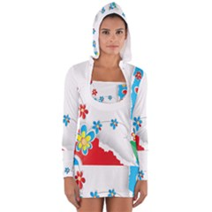 Flower Floral Papper Butterfly Star Sunflower Red Blue Green Leaf Women s Long Sleeve Hooded T Shirt