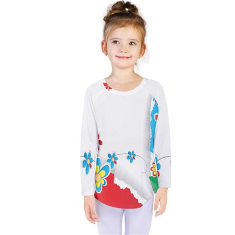 Flower Floral Papper Butterfly Star Sunflower Red Blue Green Leaf Kids  Long Sleeve Tee by Mariart