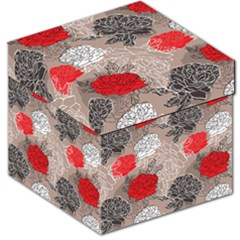 Flower Rose Red Black White Storage Stool 12   by Mariart
