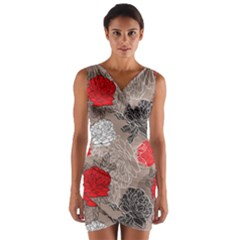 Flower Rose Red Black White Wrap Front Bodycon Dress