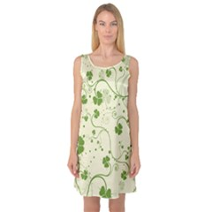 Flower Green Shamrock Sleeveless Satin Nightdress