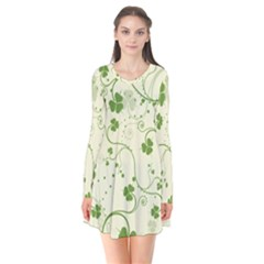Flower Green Shamrock Flare Dress by Mariart