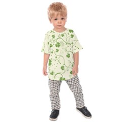 Flower Green Shamrock Kids  Raglan Tee