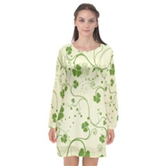 Flower Green Shamrock Long Sleeve Chiffon Shift Dress  by Mariart