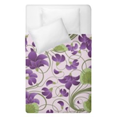 Flower Sakura Star Purple Green Leaf Duvet Cover Double Side (single Size) by Mariart