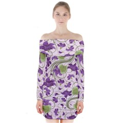 Flower Sakura Star Purple Green Leaf Long Sleeve Off Shoulder Dress by Mariart