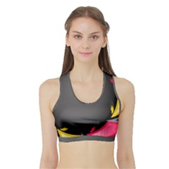 Hole Circle Line Red Yellow Black Gray Sports Bra With Border by Mariart