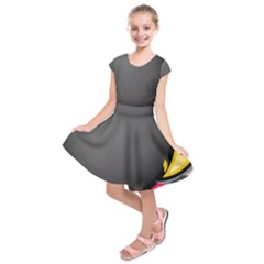 Hole Circle Line Red Yellow Black Gray Kids  Short Sleeve Dress by Mariart