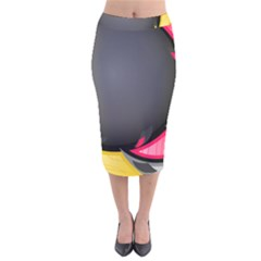 Hole Circle Line Red Yellow Black Gray Velvet Midi Pencil Skirt by Mariart