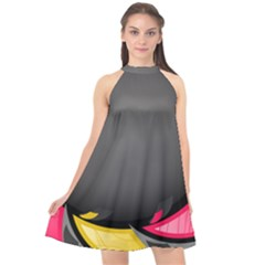 Hole Circle Line Red Yellow Black Gray Halter Neckline Chiffon Dress