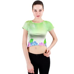 Fruit Flower Leaf Crew Neck Crop Top by Mariart