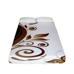 Leaf Brown Butterfly Fitted Sheet (full/ Double Size) by Mariart