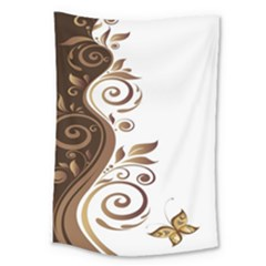 Leaf Brown Butterfly Large Tapestry by Mariart