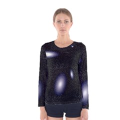 Galaxy Planet Space Star Light Polka Night Women s Long Sleeve Tee by Mariart