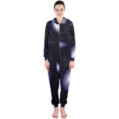 Galaxy Planet Space Star Light Polka Night Hooded Jumpsuit (ladies)  by Mariart