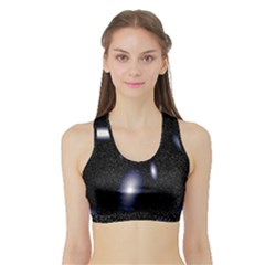 Galaxy Planet Space Star Light Polka Night Sports Bra With Border by Mariart