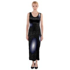 Galaxy Planet Space Star Light Polka Night Fitted Maxi Dress