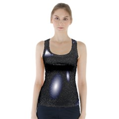 Galaxy Planet Space Star Light Polka Night Racer Back Sports Top