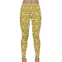 Horned Melon Green Fruit Classic Yoga Leggings by Mariart