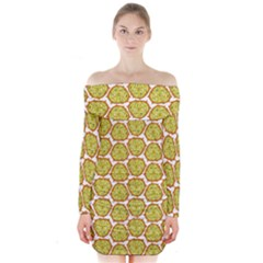 Horned Melon Green Fruit Long Sleeve Off Shoulder Dress by Mariart